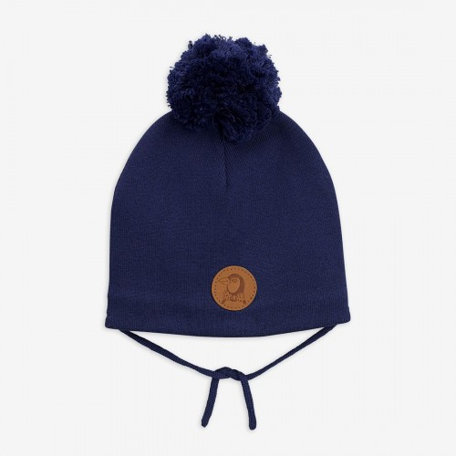 Navy Knitted Hat in Double Layers