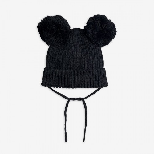 Cotton Black Knitted Beanie
