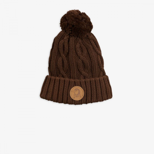 Brown Cable Knitted Beanie