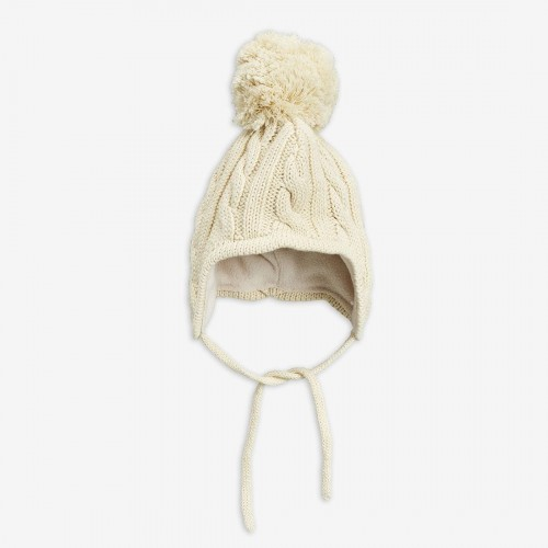 Off-White Cable Knitted Baby Beanie
