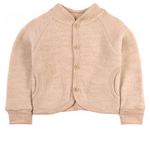 Soft Beige Wool Fleece Jacket