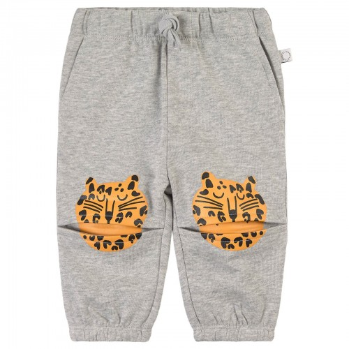 Gray Sweatpants with Tiger Print