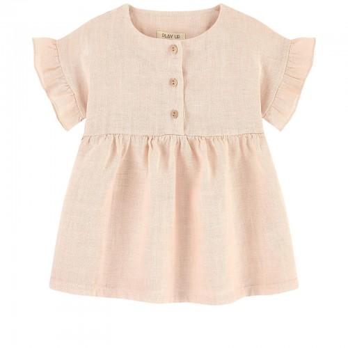 Light Pink Linen Short-Sleeved Dress