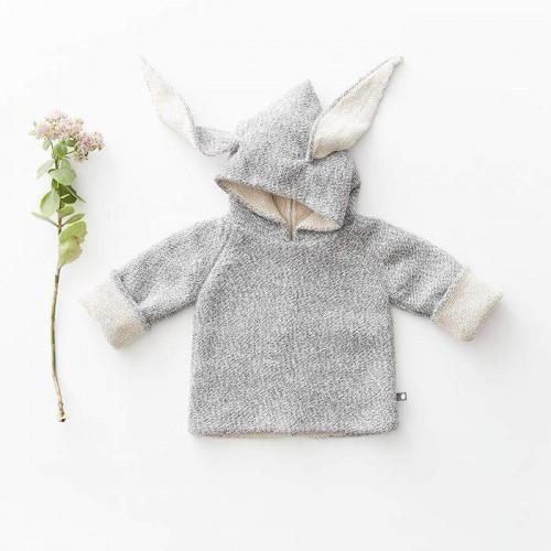 Soft Baby Alpaca Grey Rabbit Hoodie
