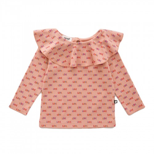 Classic Ruffle Collar Shirt in Peony Love