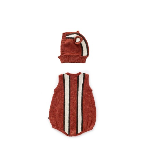 Red Chipmunk Romper & Hat Set