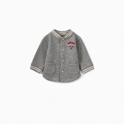 Long Sleeves Baby Cardigan in Gray