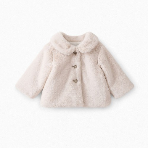 Baby Faux Fur Coat in Alabaster White