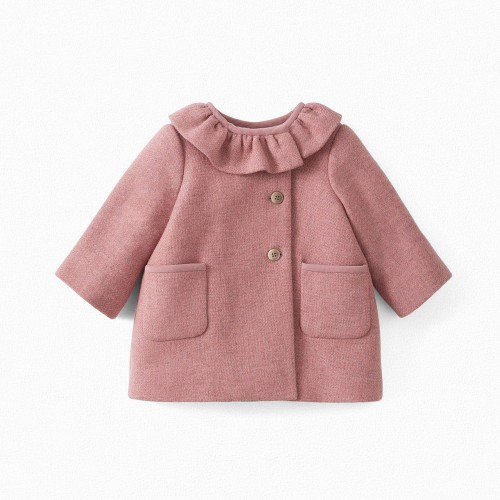 Baby Twill Wool Coat in Blush Pink