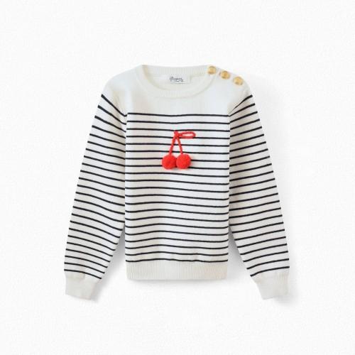 Striped Sweater in Milk White