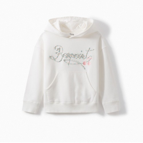 Sweatshirt with Embroidery in Milk White