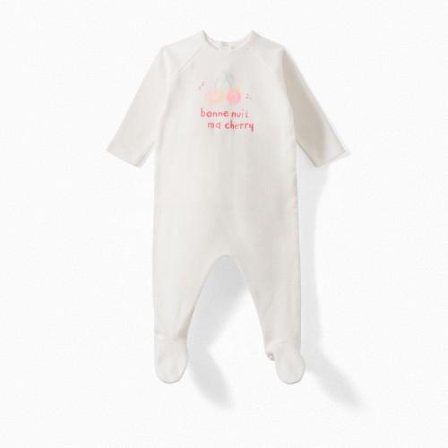 Baby Printed Pajama in Milk White