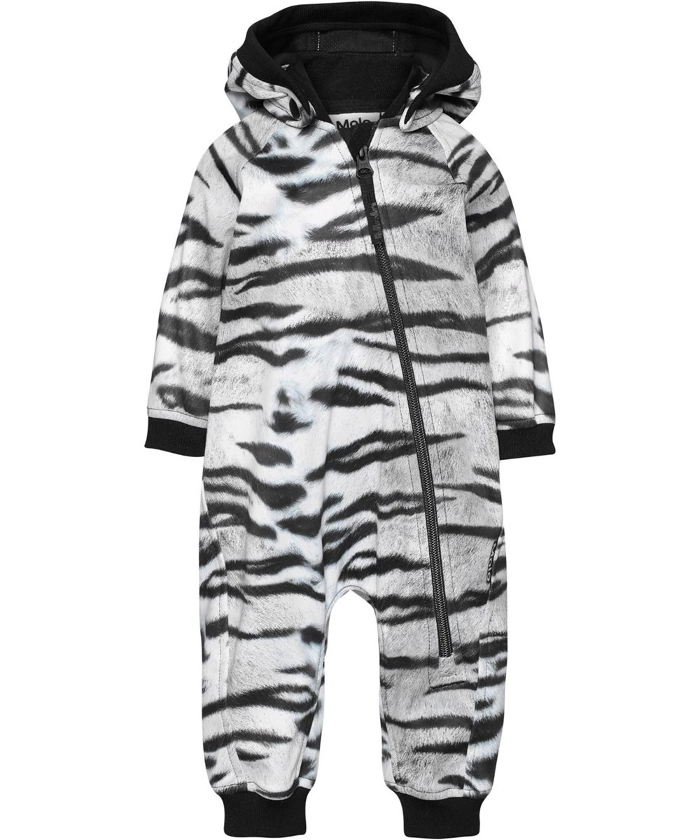 Baby Romper with White and Black Tiger Print
