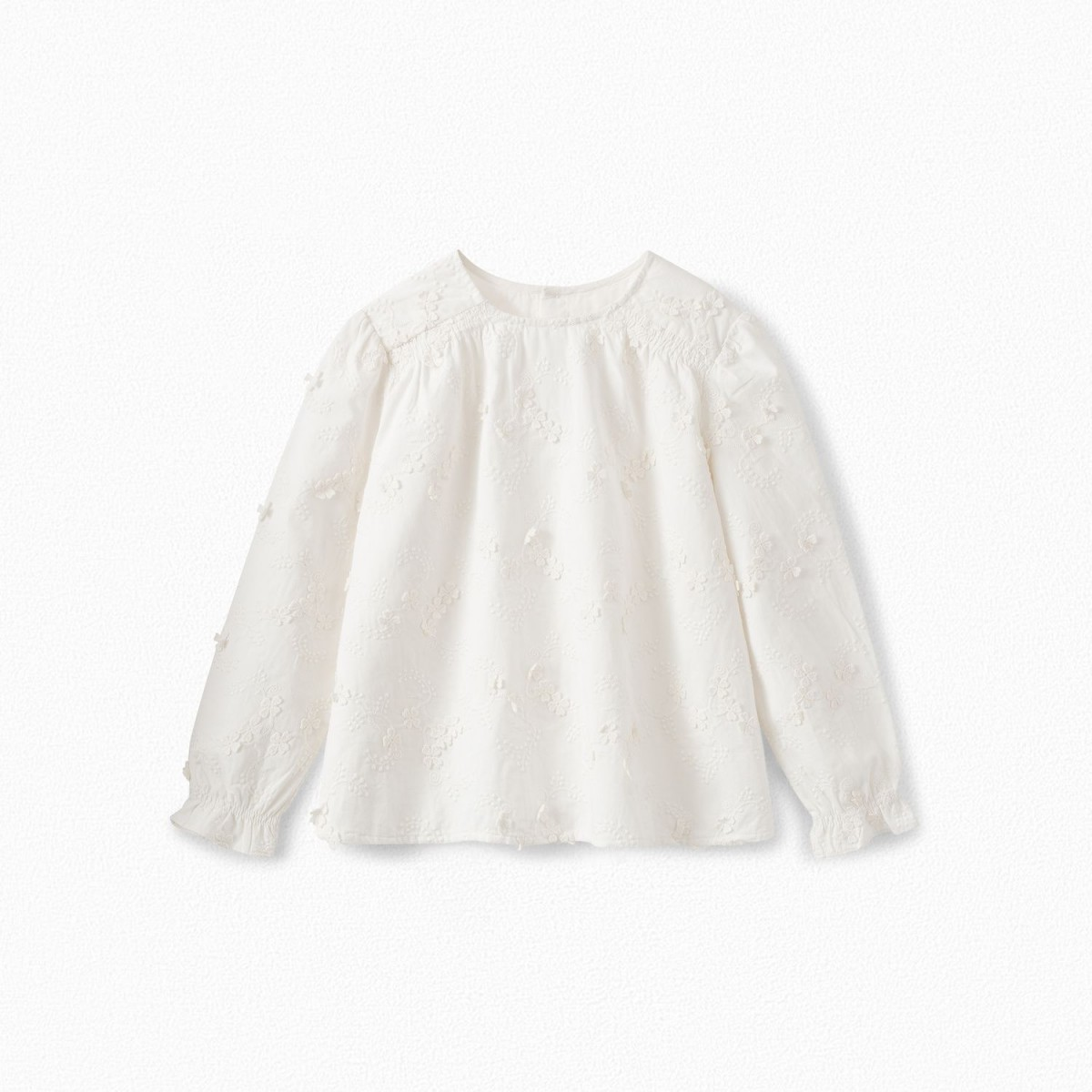 Embroidered Twill Blouse in Ecru