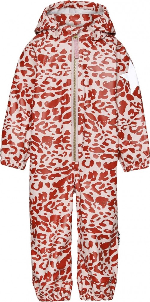 Rain Suit in Red and Rose Leopard Print
