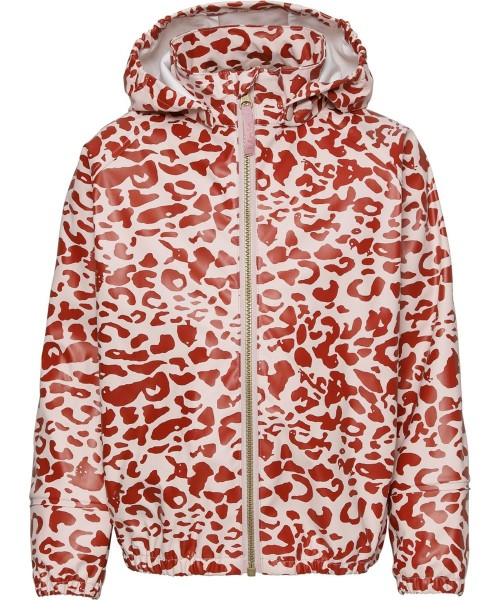 Rain Jacket in Red and Rose Leopard Print