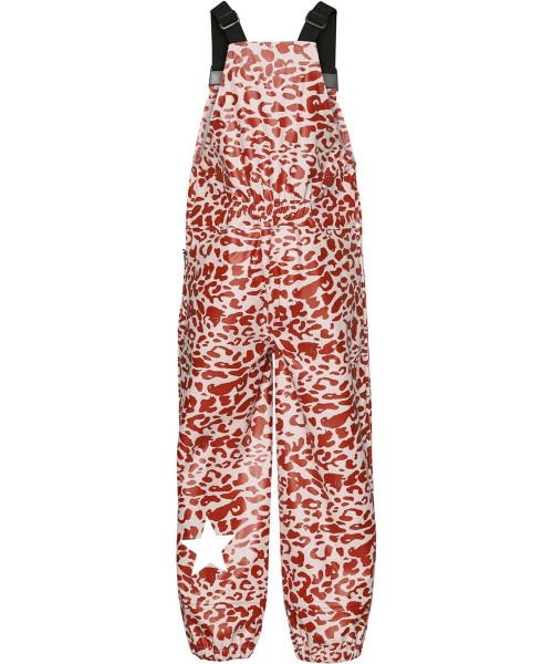 Rain Dungarees in Red and Rose Leopard Print