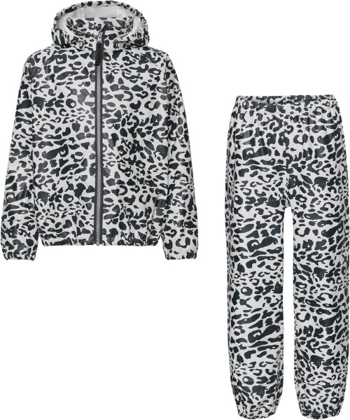 Blue and White Leopard Print Rainwear Set