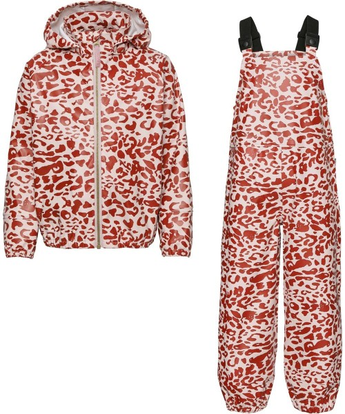 Rainwear Set in Red and Rose Leopard Print