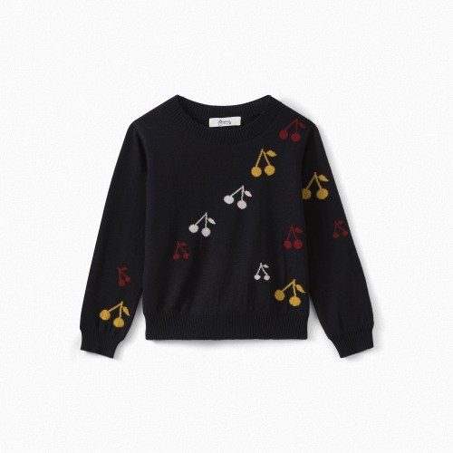 Warm Sweater with Cherries in Navy