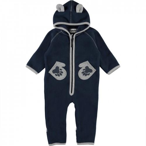 Baby Fleece Romper in Dark Blue