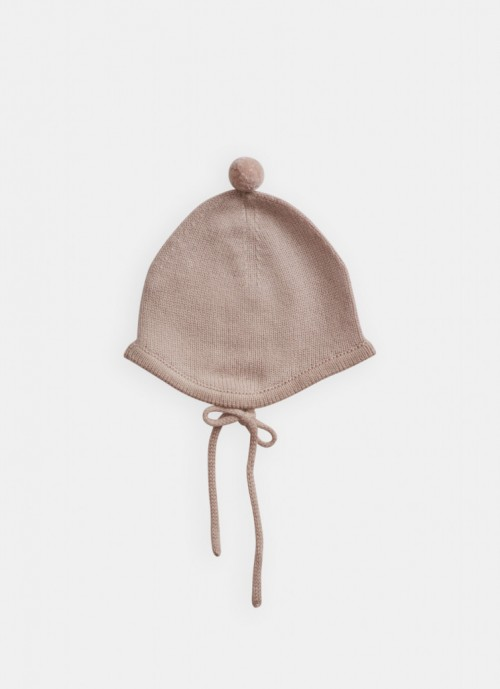 Cashmere Bonnet with Pompom in Rose