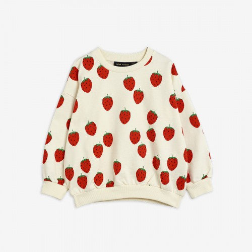 Cozy Sweatshirt with Strawberry Print