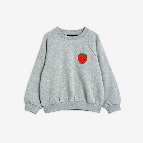 Grey Sweatshirt with Embroidered Strawberry Patch