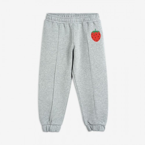Grey Sweatpants with Embroidered Strawberry Patch