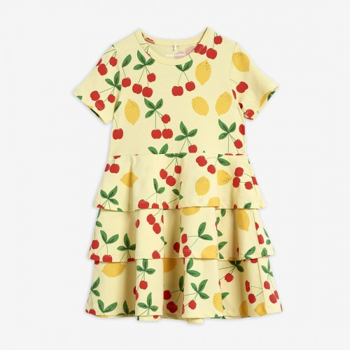 Adorable Yellow Dress with Cherry Print