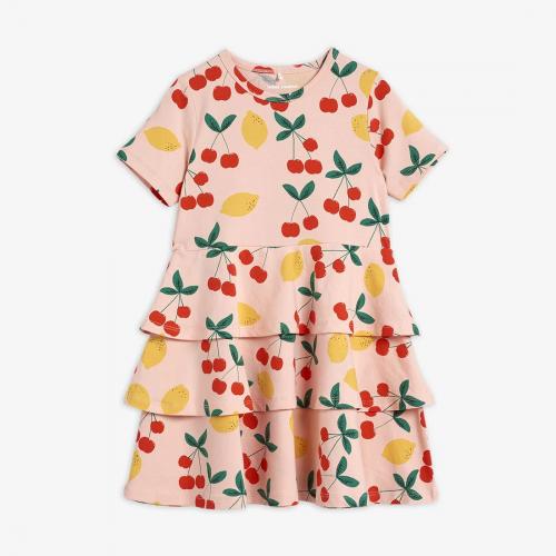 Elegant Pink Dress with Cherry Print