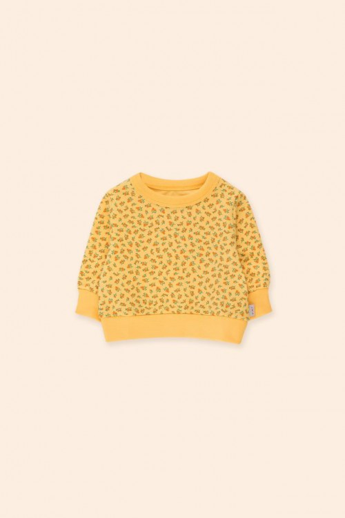 Soft Yellow Sweatshirt with Small Flowers