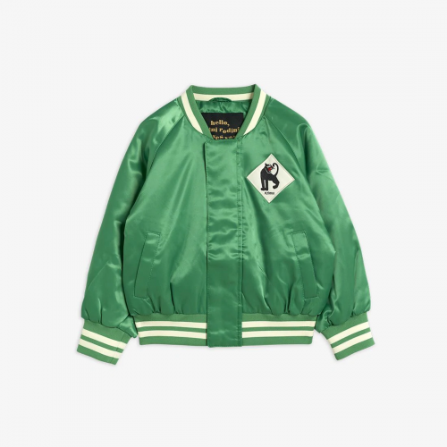 Green Baseball Jacket with Panther Patch
