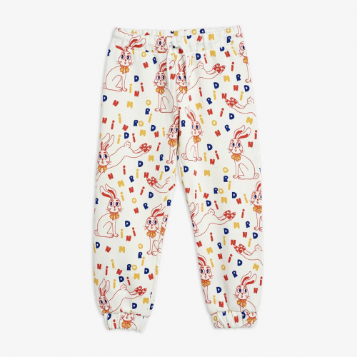 White Sweatpants with Rabbit Print