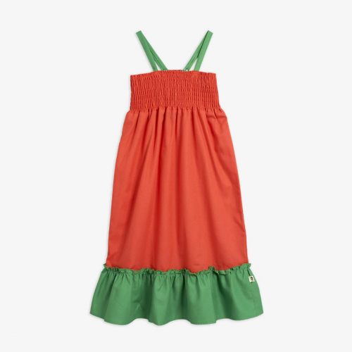 Colorful Green and Red Smock Dress