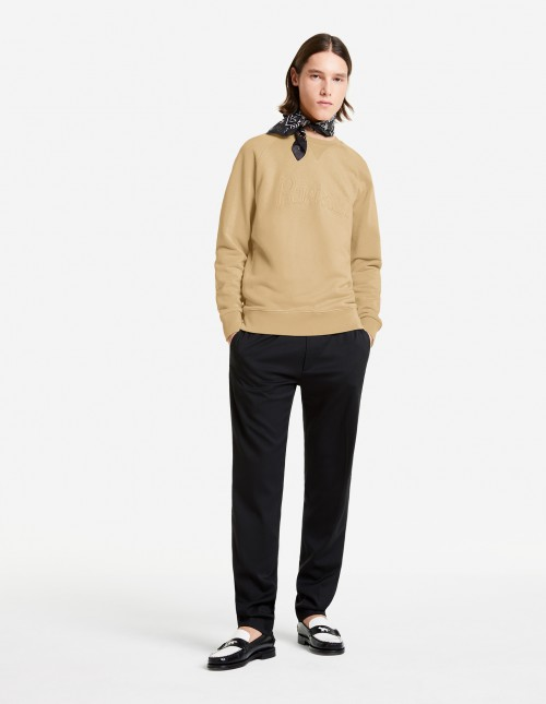 Basic Cotton Sweatshirt in Beige