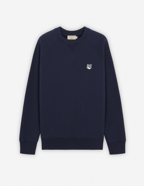 Navy Cotton Sweatshirt with Grey Fox Patch