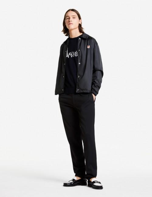 Black Jacquard Wool Pullover