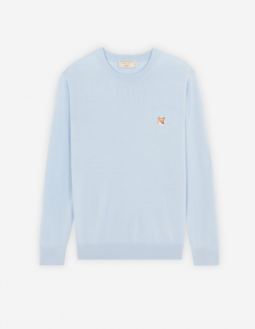 Light Blue Unisex Wool Crewneck Pullover