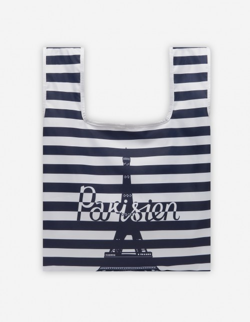 Striped Nylon Shopping Bag