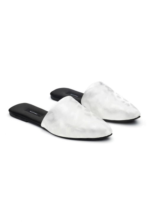 Leather White Mules