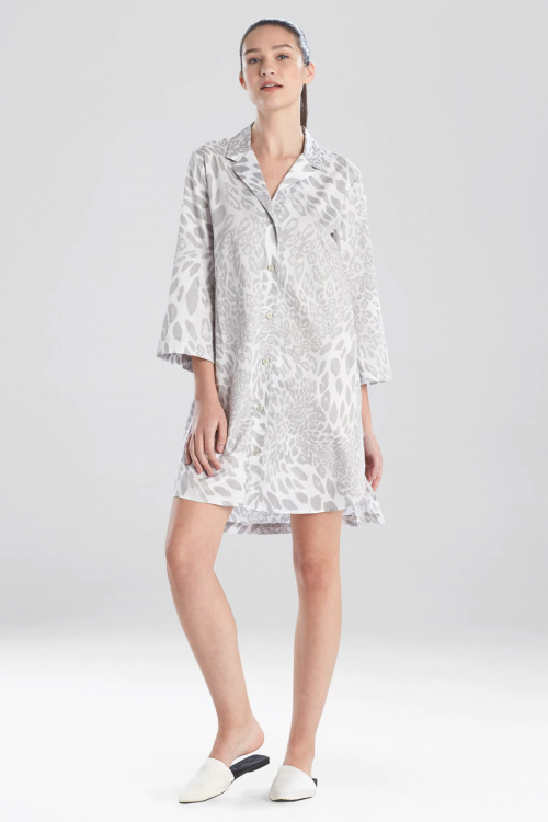 Soft Sleepshirt with Mink Leopard Print
