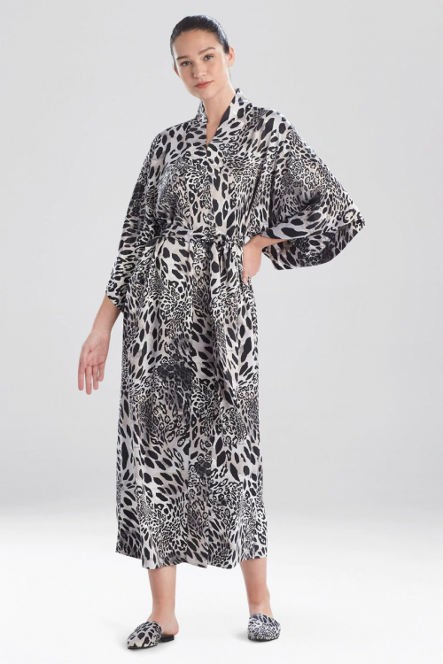 Elegant Robe with Jaguar Black Print