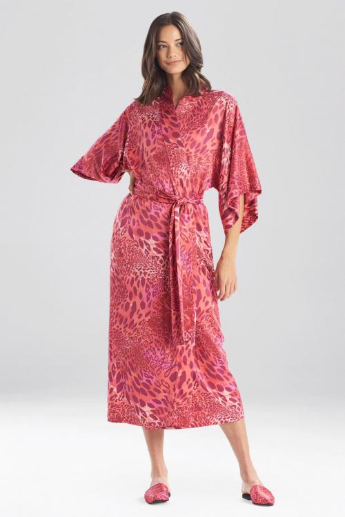 Delicate Robe with Jaguar Pink Print