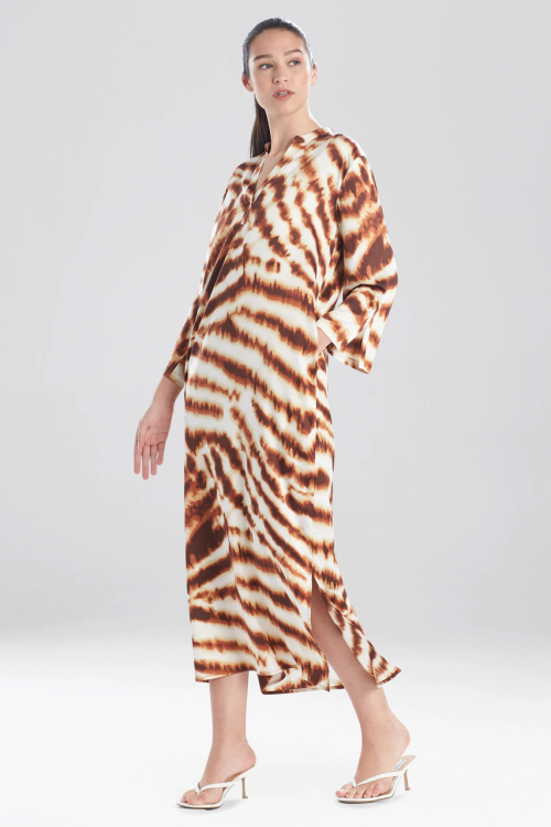 Satin Caftan with Tiger Print