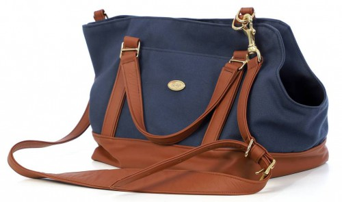 Stylish Pet Carrier in Blue / Caramel