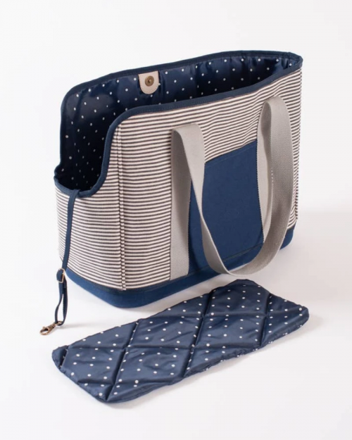 Striped Dog Carrier in Navy