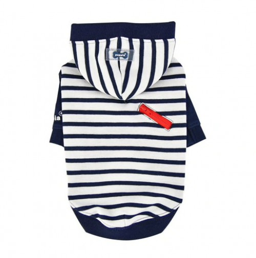 Striped Hooded T-shirt in Navy