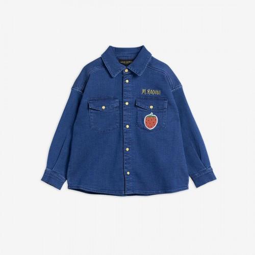 Denim Shirt with Strawberry Patch