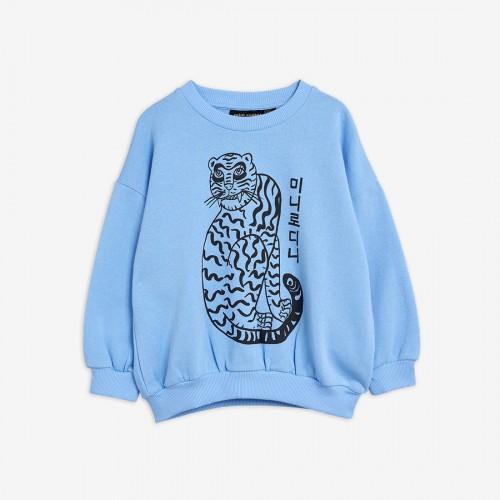 Blue Sweatshirt with Tiger Print